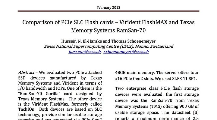 Comparison of PCIe SLC Flash cards – Virident FlashMAX and Texas Memory  Systems RamSan-70 | CSCS