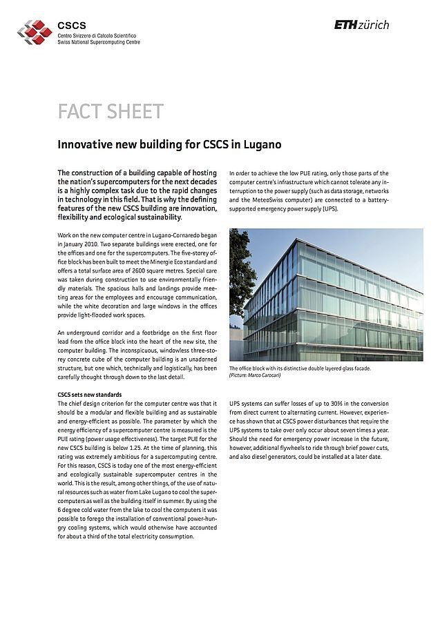 Innovative new building for CSCS in Lugano | CSCS