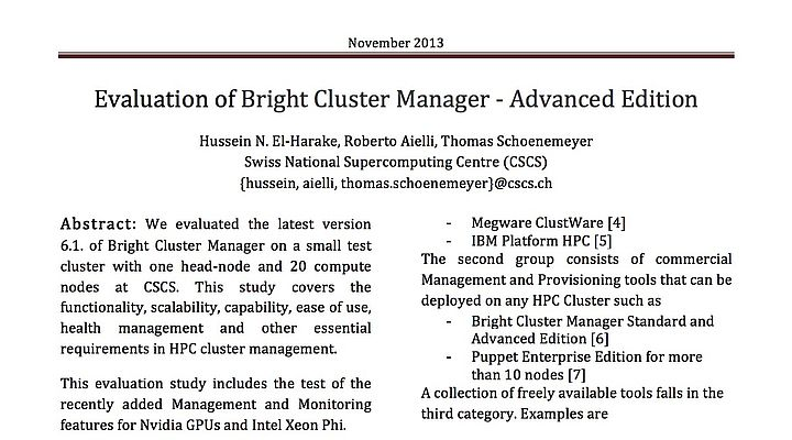 Evaluation of Bright Cluster Manager - Advanced Edit | CSCS